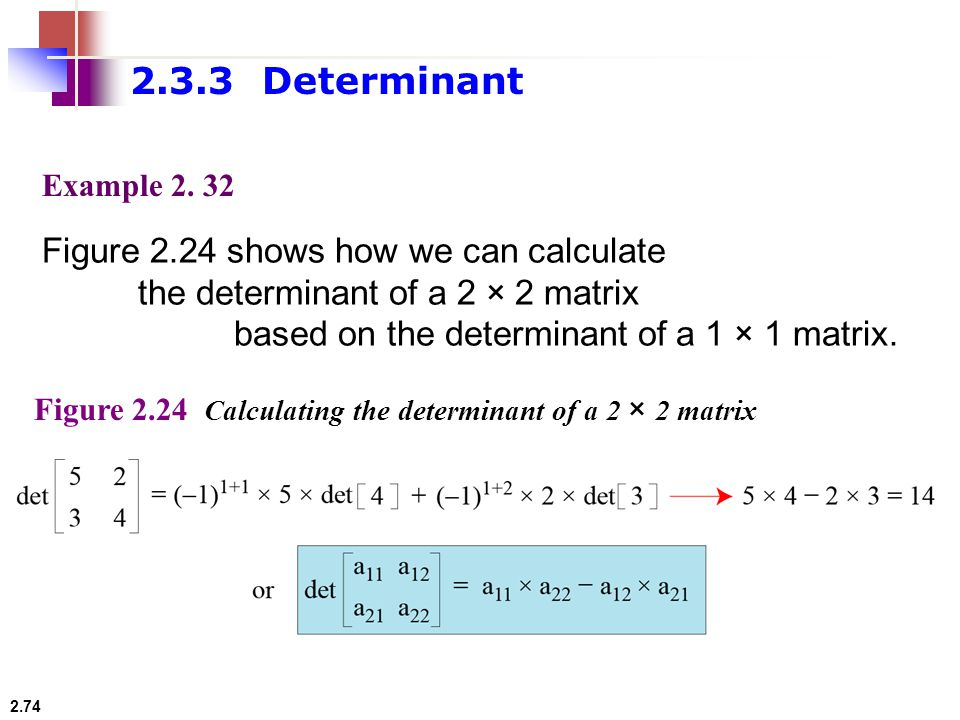 2.3.3 Determinant Figure 2.24 shows how we can calculate