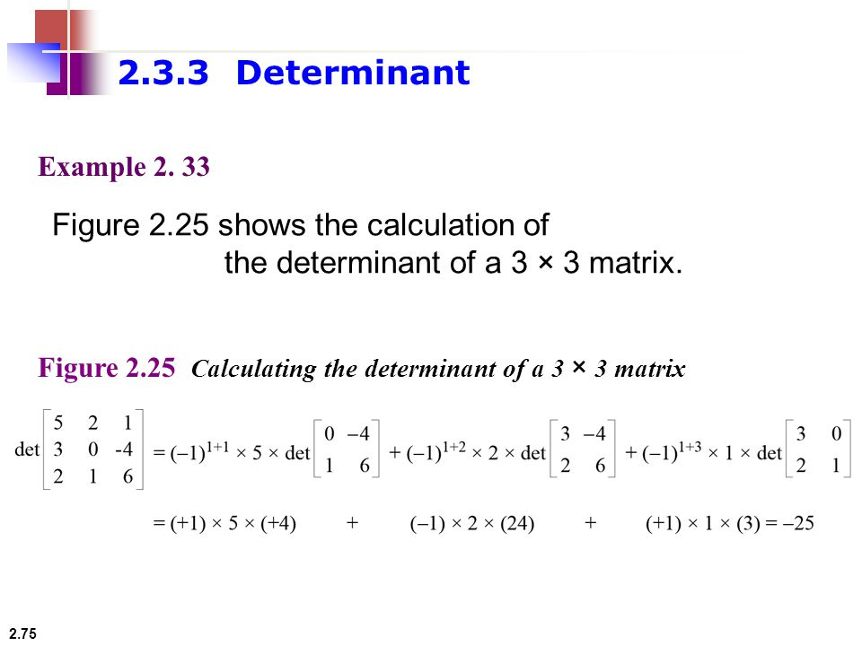 2.3.3 Determinant Figure 2.25 shows the calculation of