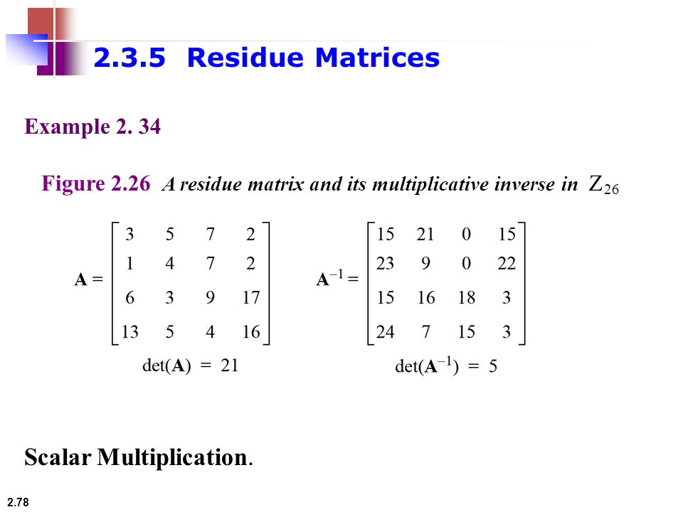 2.3.5 Residue Matrices Scalar Multiplication. Example 2. 34