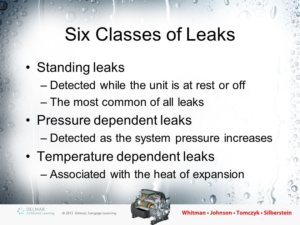 Six Classes of Leaks Standing leaks Pressure dependent leaks