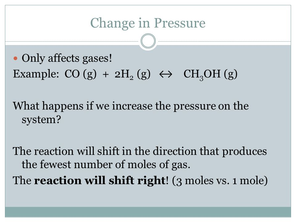 Change in Pressure Only affects gases!