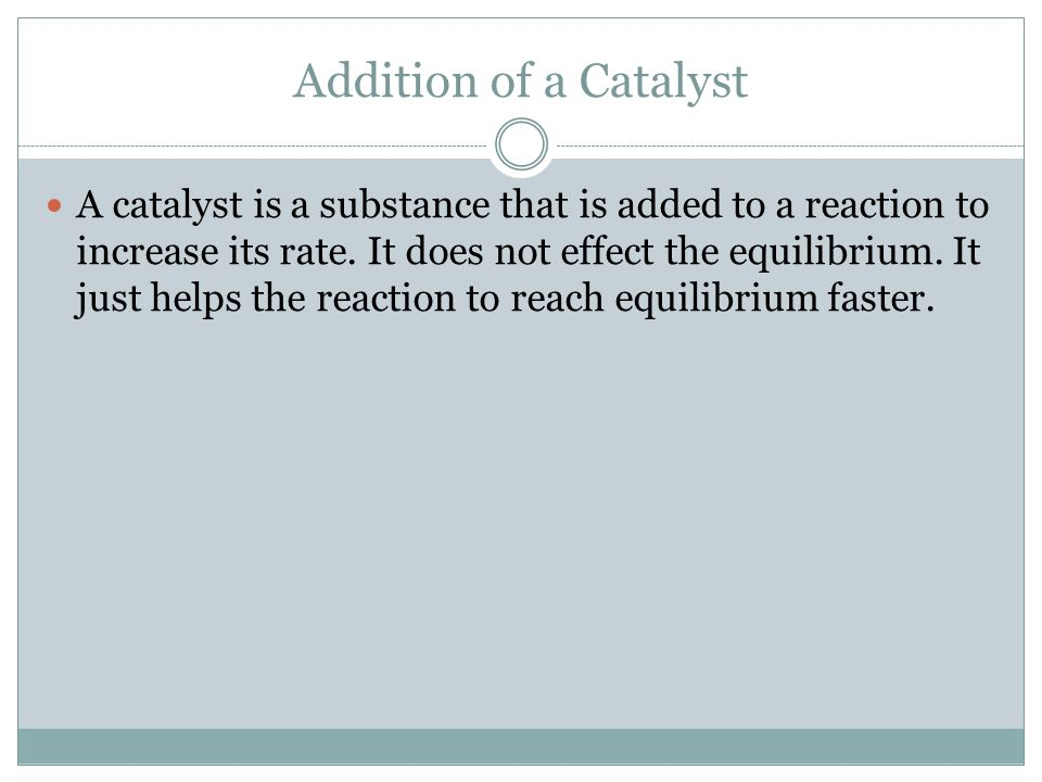 Addition of a Catalyst
