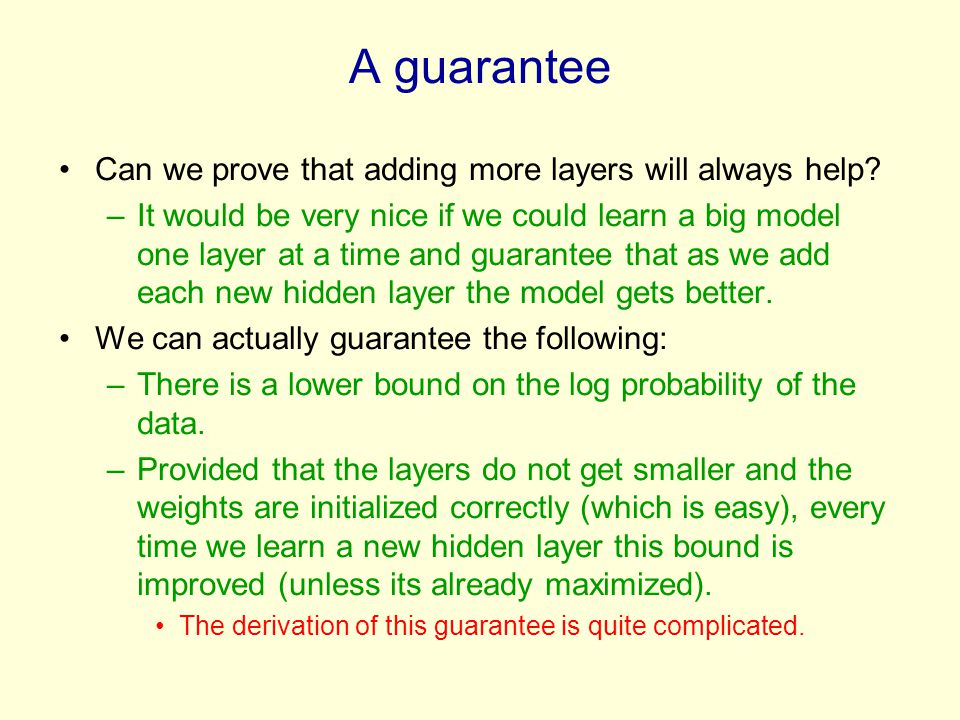 A guarantee Can we prove that adding more layers will always help