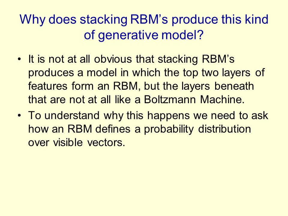 Why does stacking RBM's produce this kind of generative model
