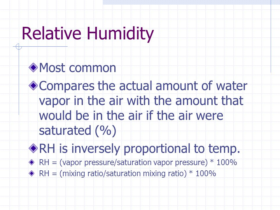 Relative Humidity Most common