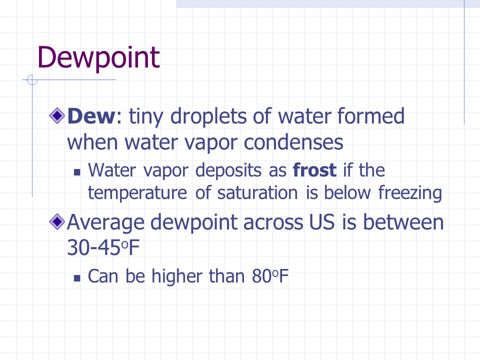 Dewpoint Dew: tiny droplets of water formed when water vapor condenses