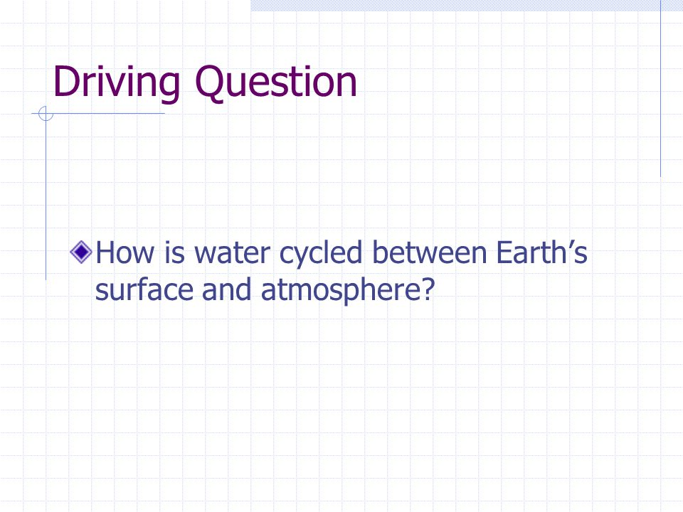Driving Question How is water cycled between Earth's surface and atmosphere
