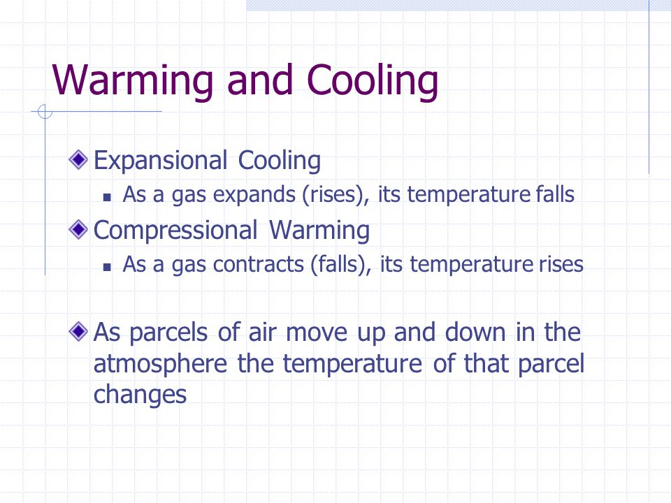 Warming and Cooling Expansional Cooling Compressional Warming
