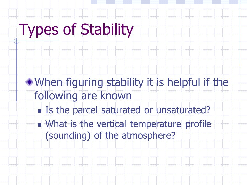 Types of Stability When figuring stability it is helpful if the following are known. Is the parcel saturated or unsaturated