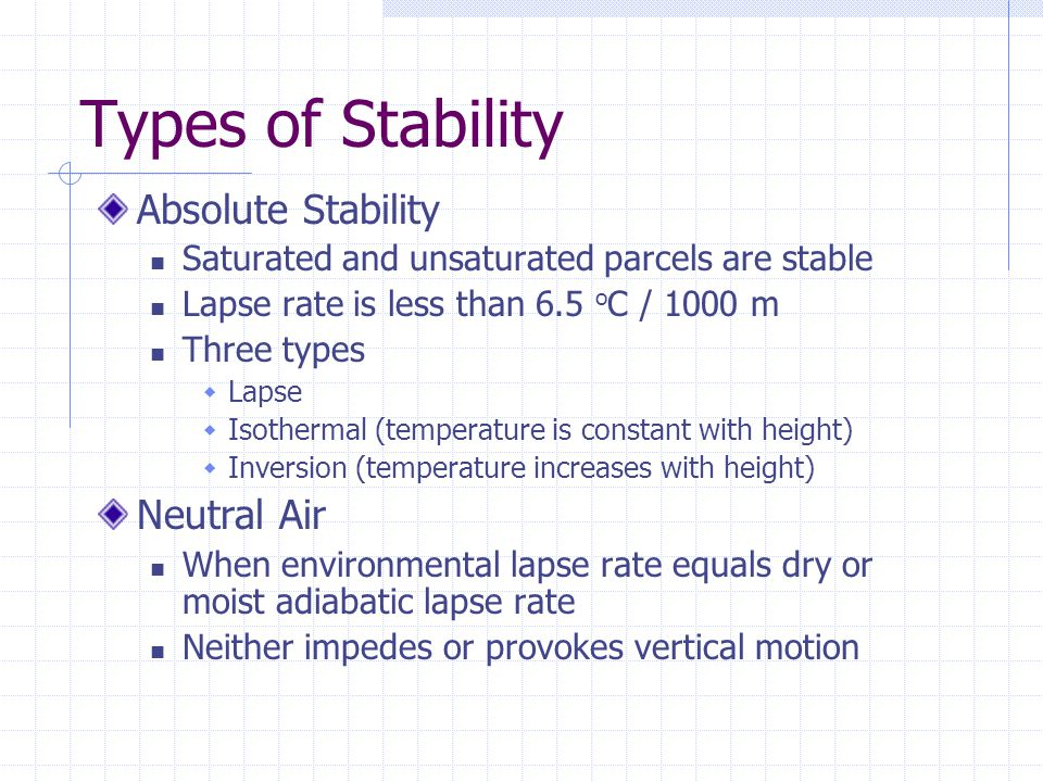 Types of Stability Absolute Stability Neutral Air
