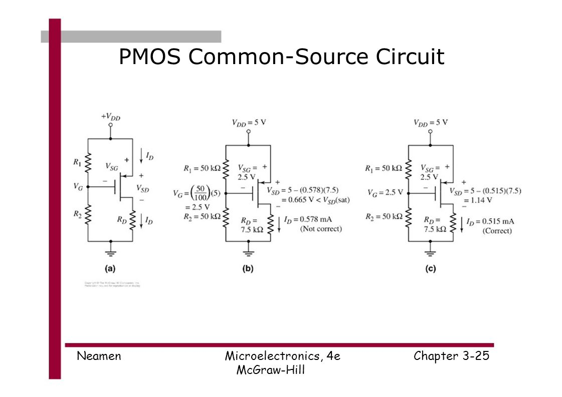 Microelectronics Circuit Analysis And Design Donald A Neamen Ppt To Use Nmosfet Instead Of Pmosfet Electrical Engineering 25 Pmos