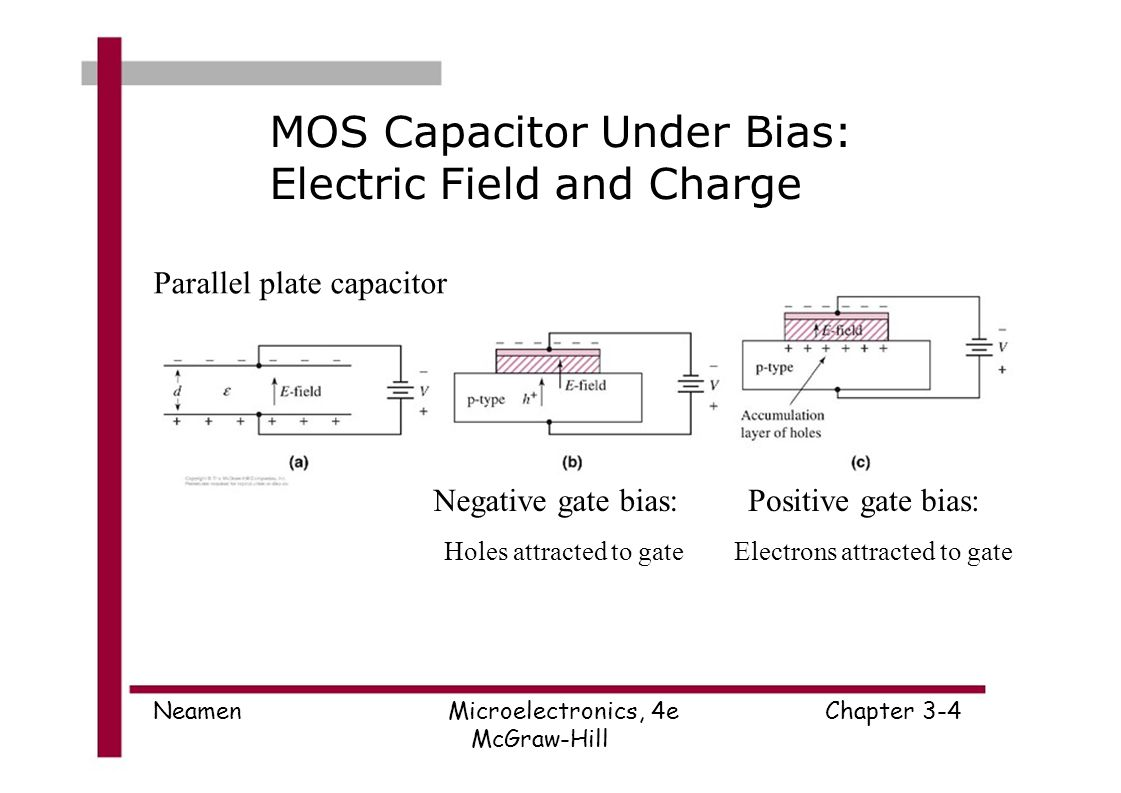 microelectronics circuit analysis and design donald a neamen pptmos capacitor under bias electric field and charge