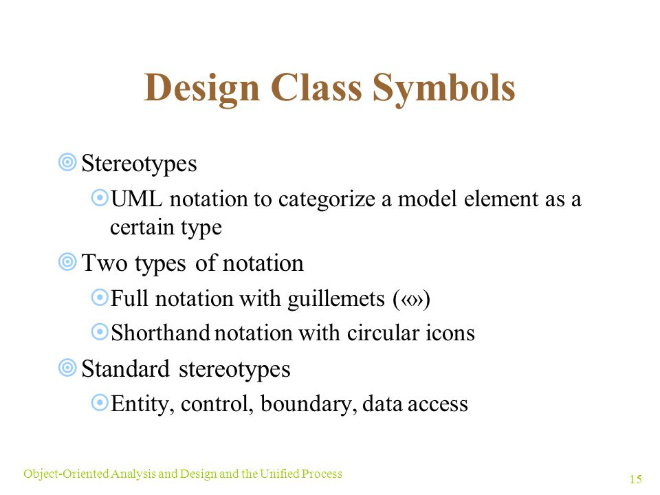Design Class Symbols Stereotypes Two types of notation