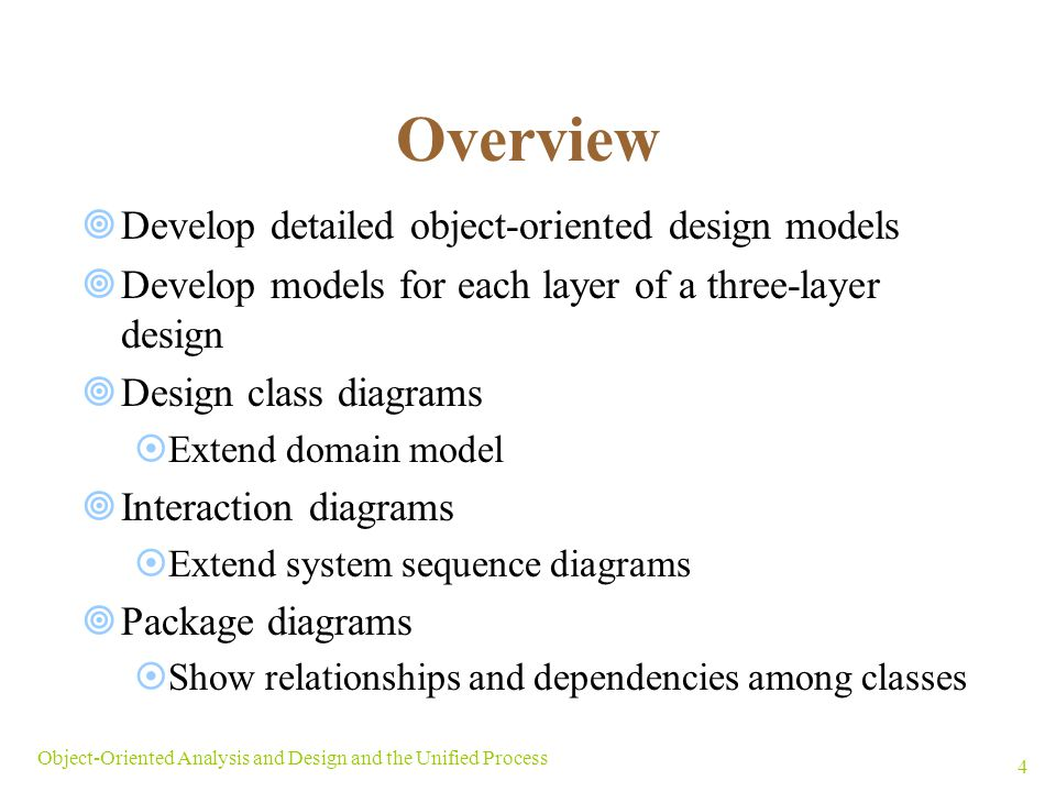 Overview Develop detailed object-oriented design models