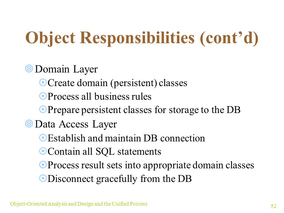 Object Responsibilities (cont'd)