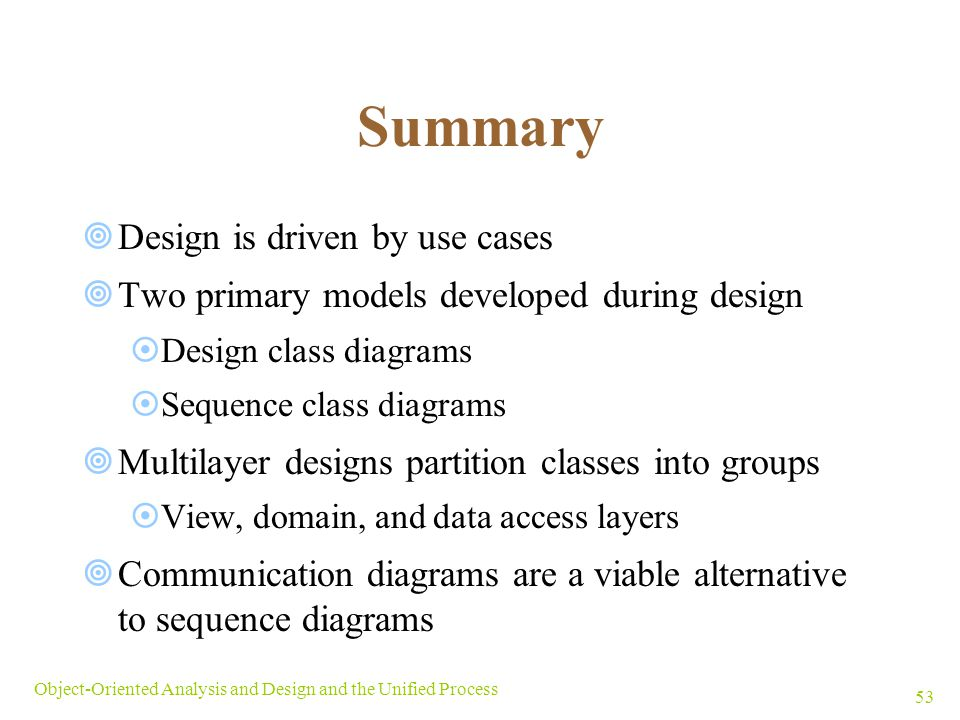 Summary Design is driven by use cases