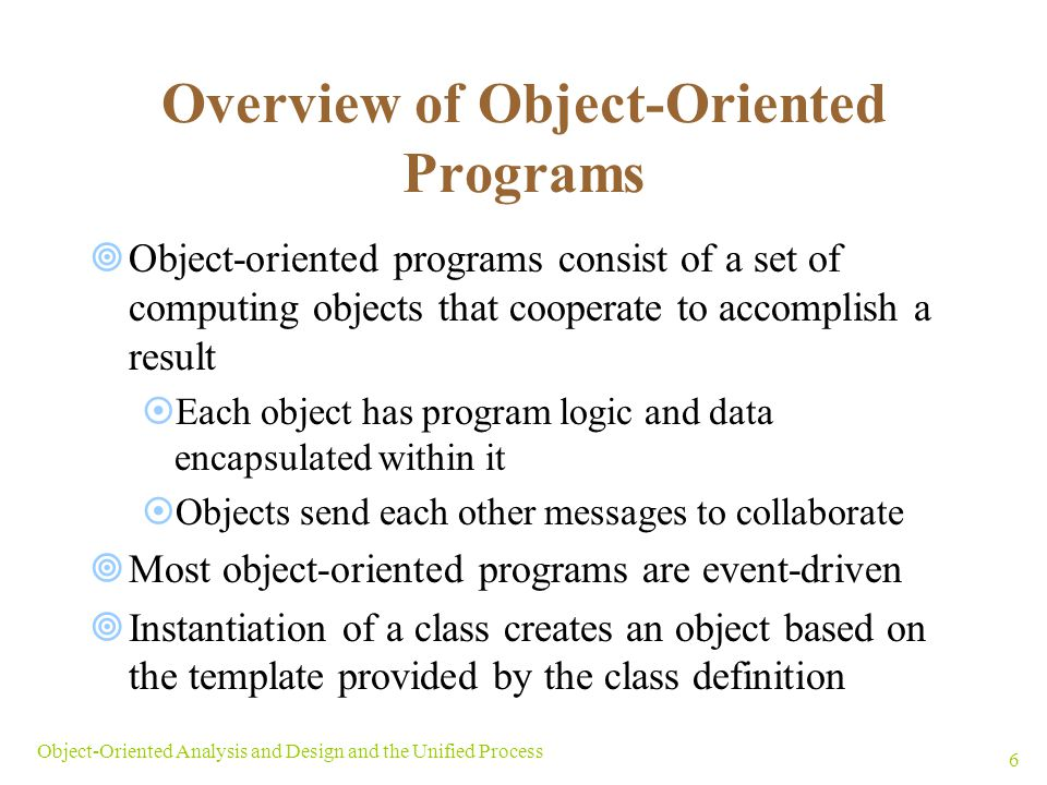 Overview of Object-Oriented Programs