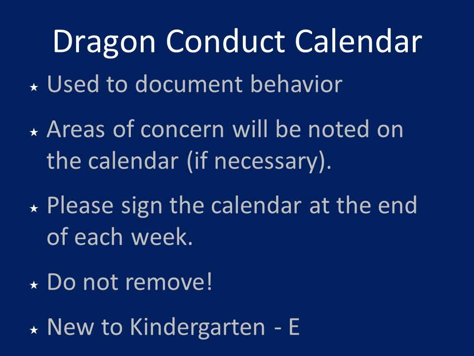 Dragon Conduct Calendar