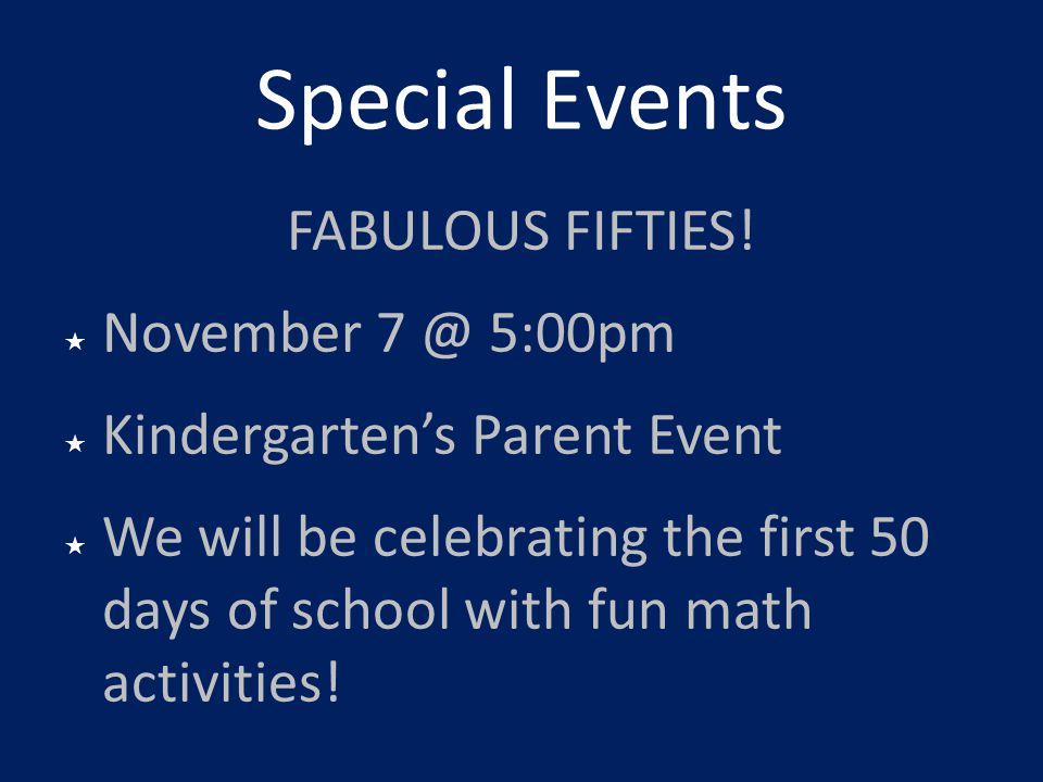 Special Events FABULOUS FIFTIES! November 5:00pm