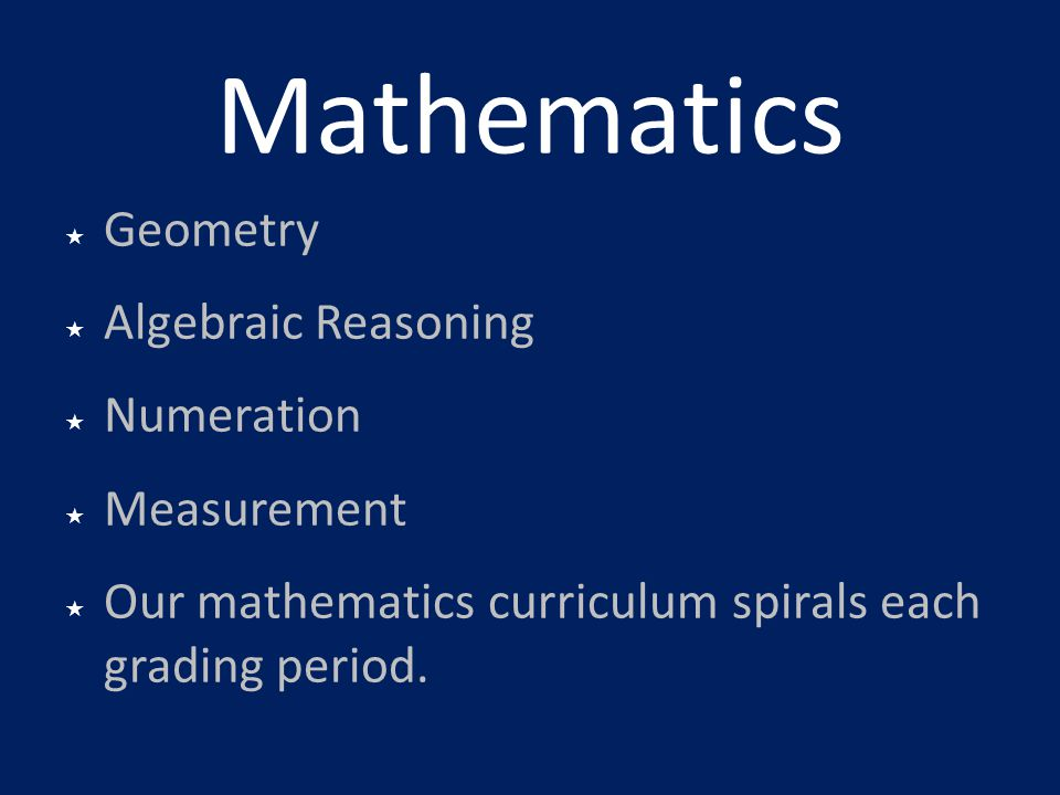 Mathematics Geometry Algebraic Reasoning Numeration Measurement