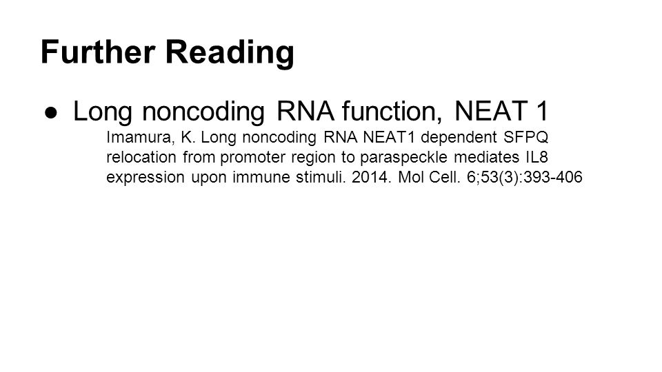 Further Reading Long noncoding RNA function, NEAT 1