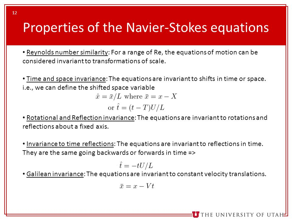 Properties of the Navier-Stokes equations