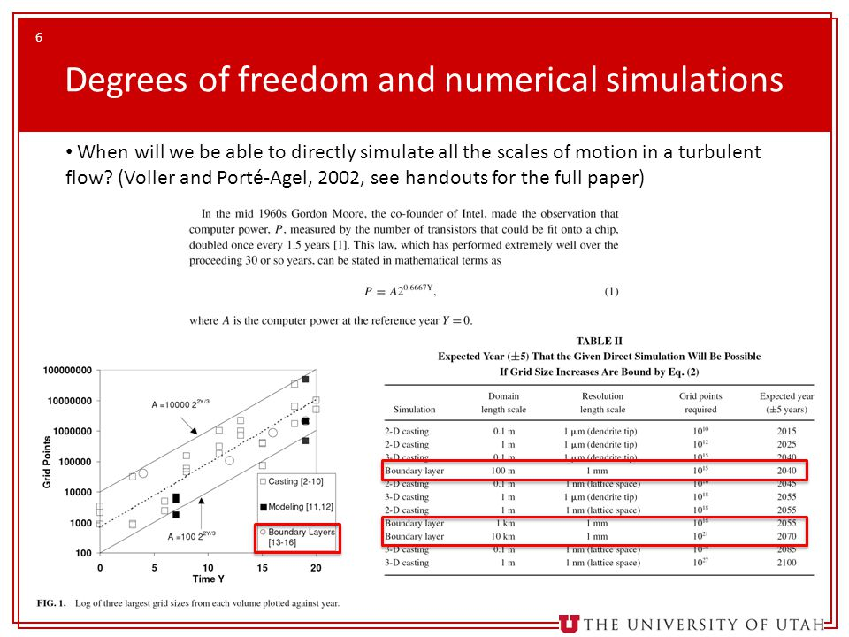 Degrees of freedom and numerical simulations