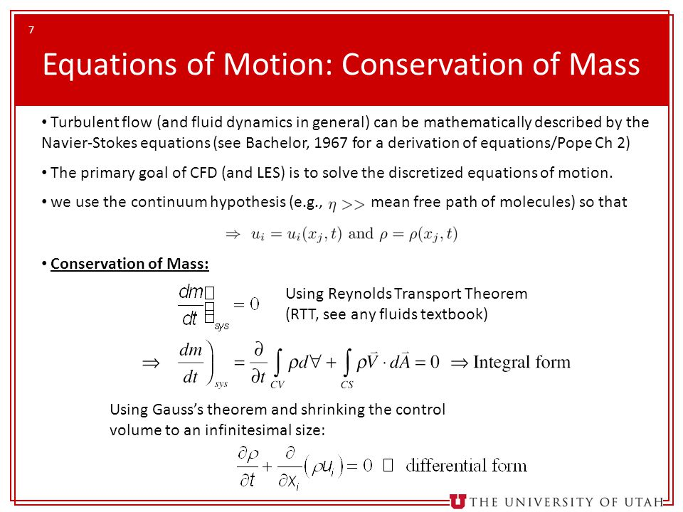Equations of Motion: Conservation of Mass