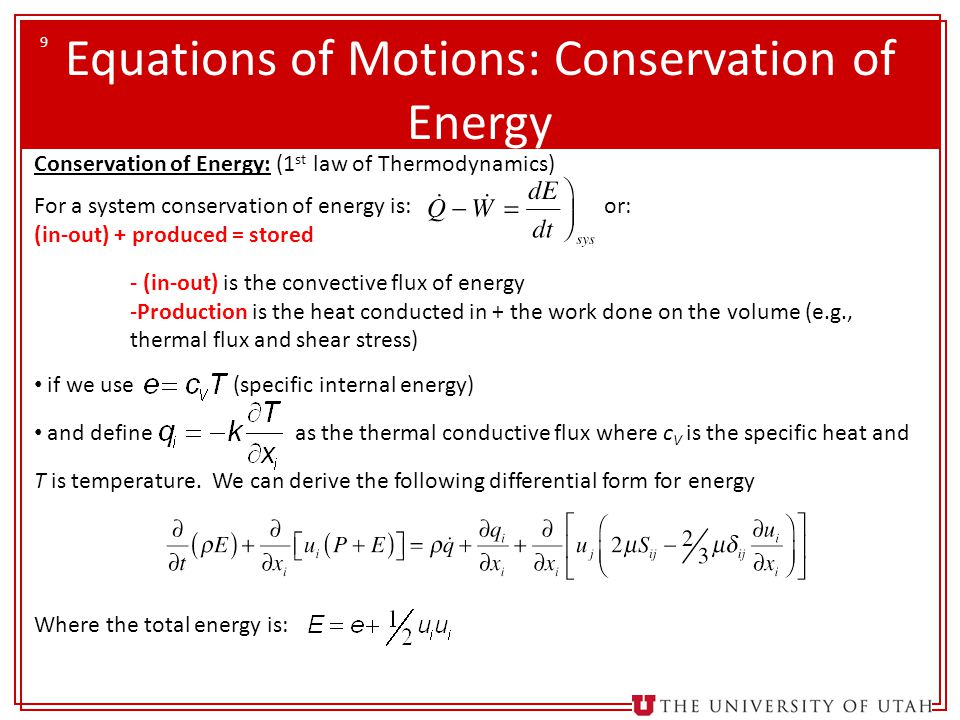 Equations of Motions: Conservation of Energy