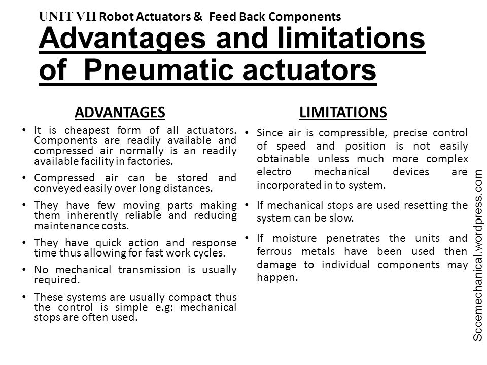 Advantages and limitations of Pneumatic actuators