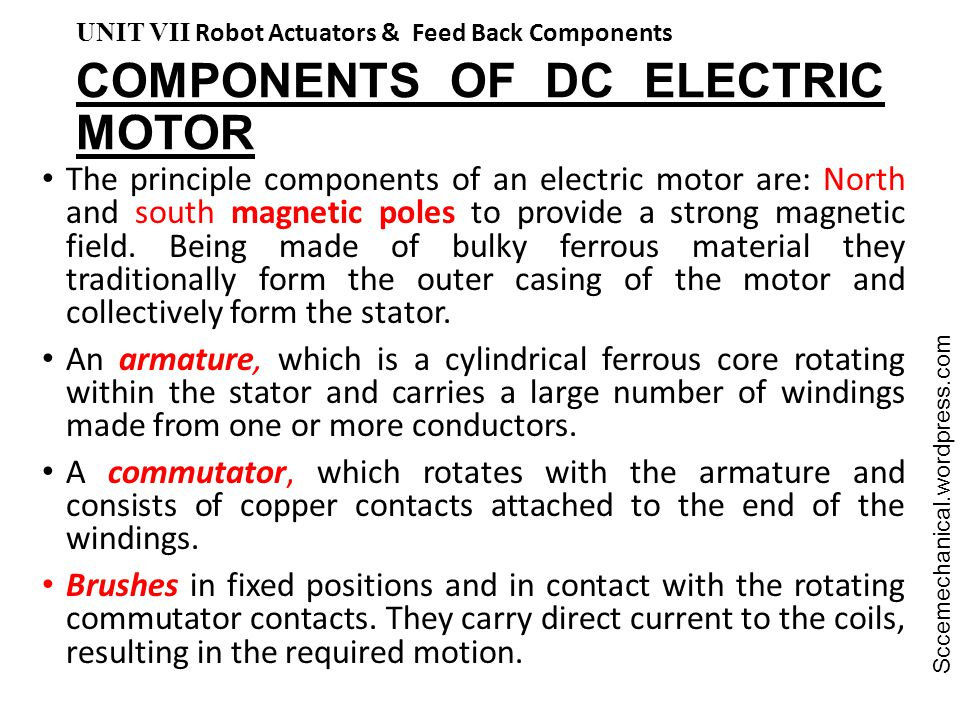 COMPONENTS OF DC ELECTRIC MOTOR