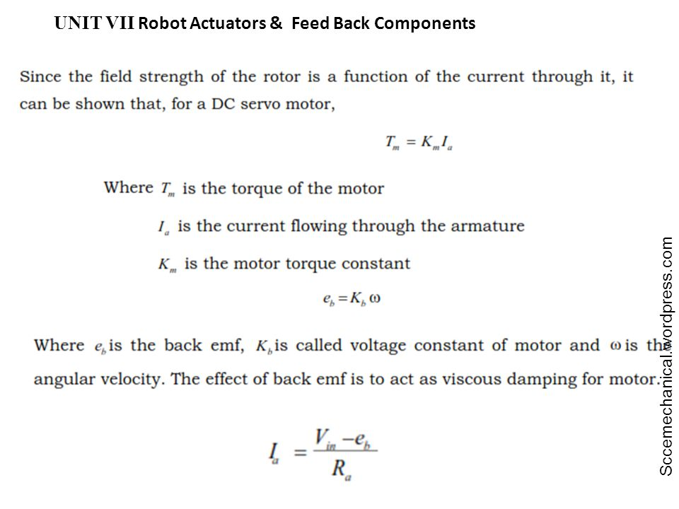 UNIT VII Robot Actuators & Feed Back Components