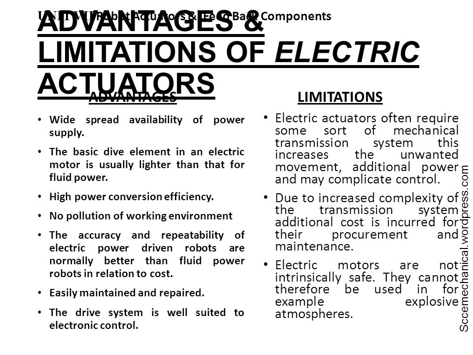 ADVANTAGES & LIMITATIONS OF ELECTRIC ACTUATORS