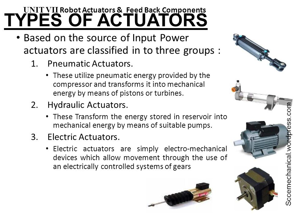 TYPES OF ACTUATORS UNIT VII Robot Actuators & Feed Back Components. Sccemechanical.wordpress.com.
