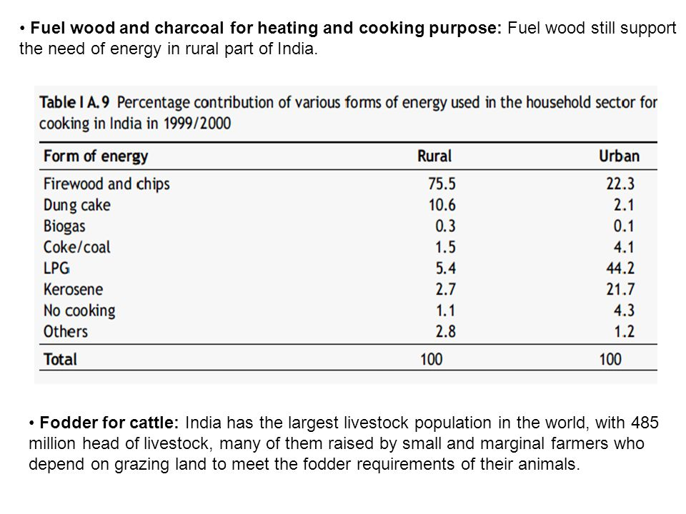 Fuel wood and charcoal for heating and cooking purpose: Fuel wood still support the need of energy in rural part of India.