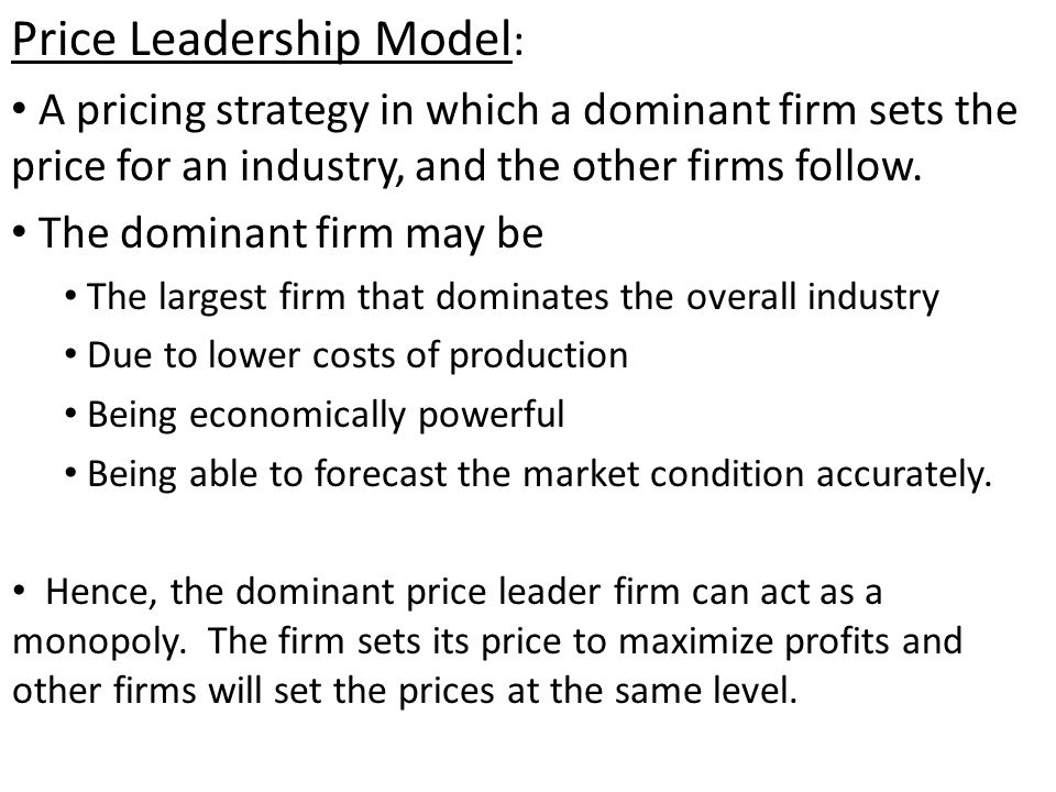 price leadership model of oligopoly