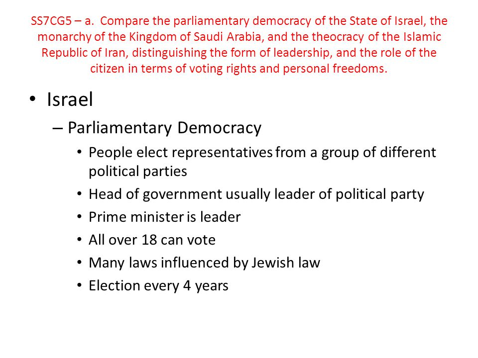 Israel Parliamentary Democracy