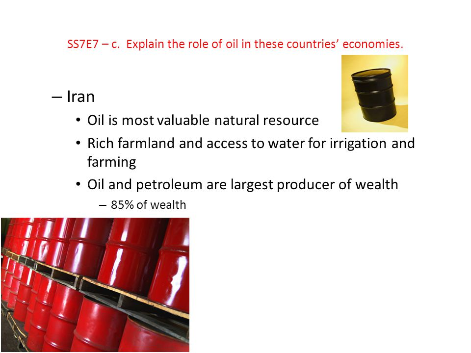SS7E7 – c. Explain the role of oil in these countries' economies.