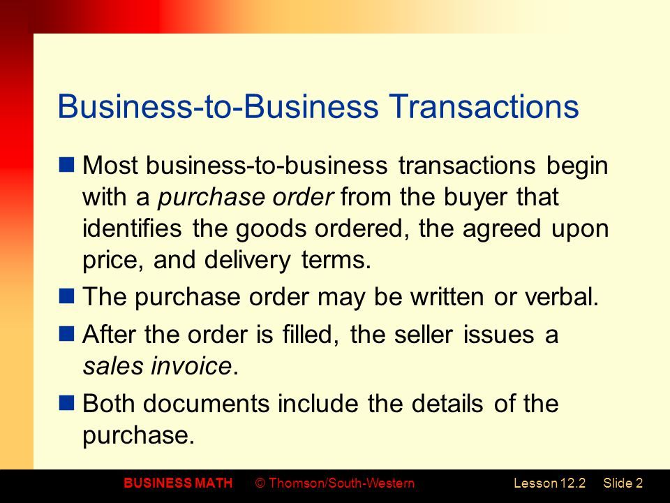 Business-to-Business Transactions