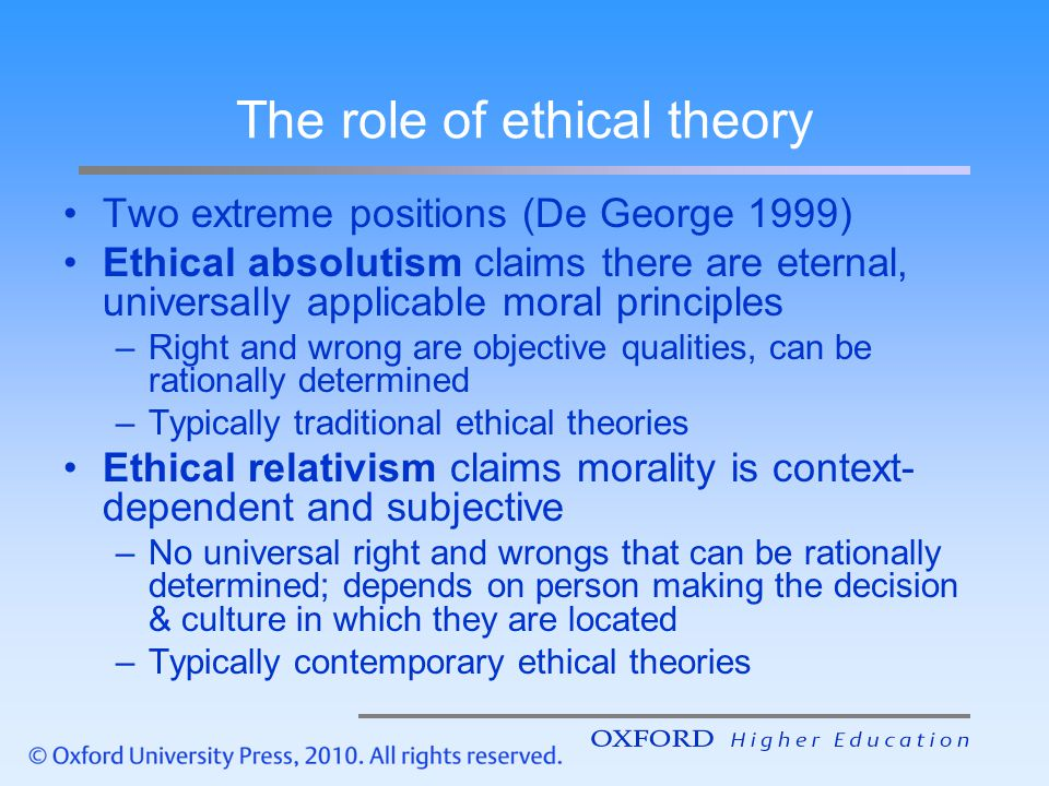 uses of ethical theories Ethical theory serves as the foundation for ethical solutions to the difficult situations people encounter in life in fact, for centuries, philosophers have come up with theoretical ways of telling right here are a few ethical theories to whet your appetite: virtue ethics states that character matters above all else.