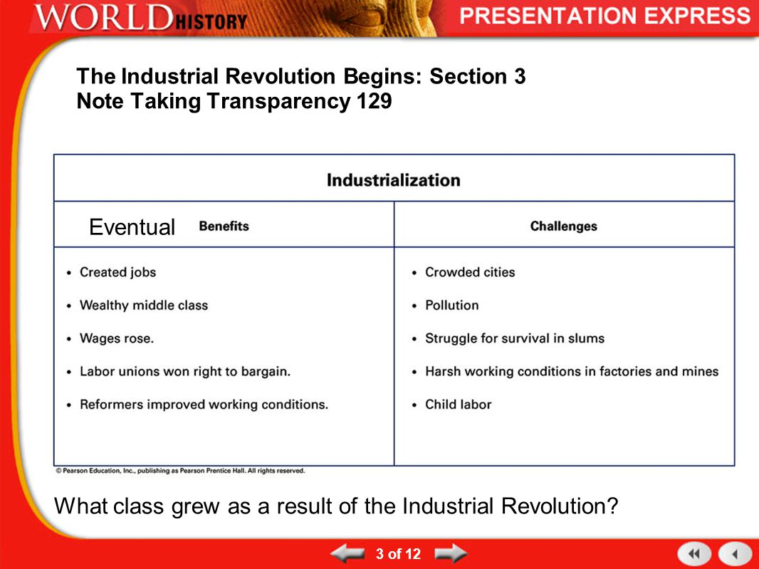 3 The Industrial Revolution Begins: Section 3. Note Taking Transparency ...