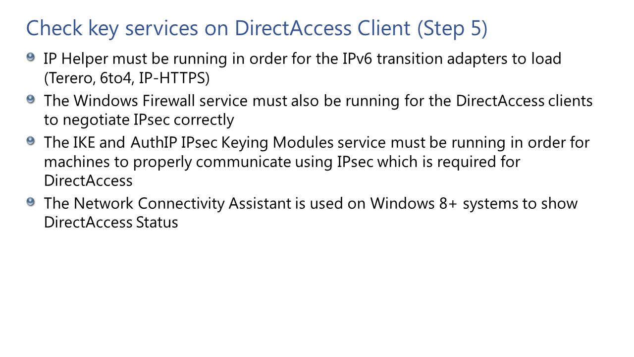 Check key services on DirectAccess Client (Step 5)