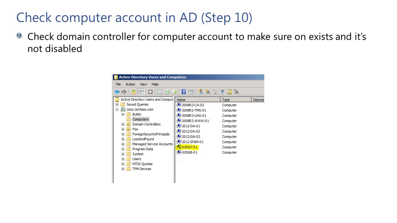 Check computer account in AD (Step 10)