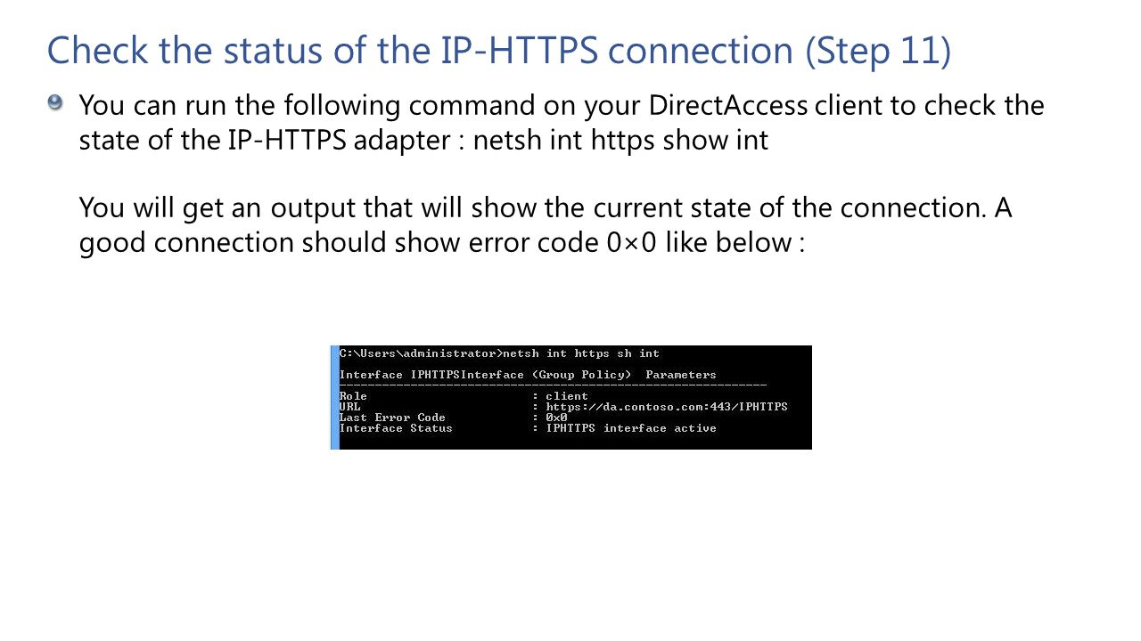 Check the status of the IP-HTTPS connection (Step 11)