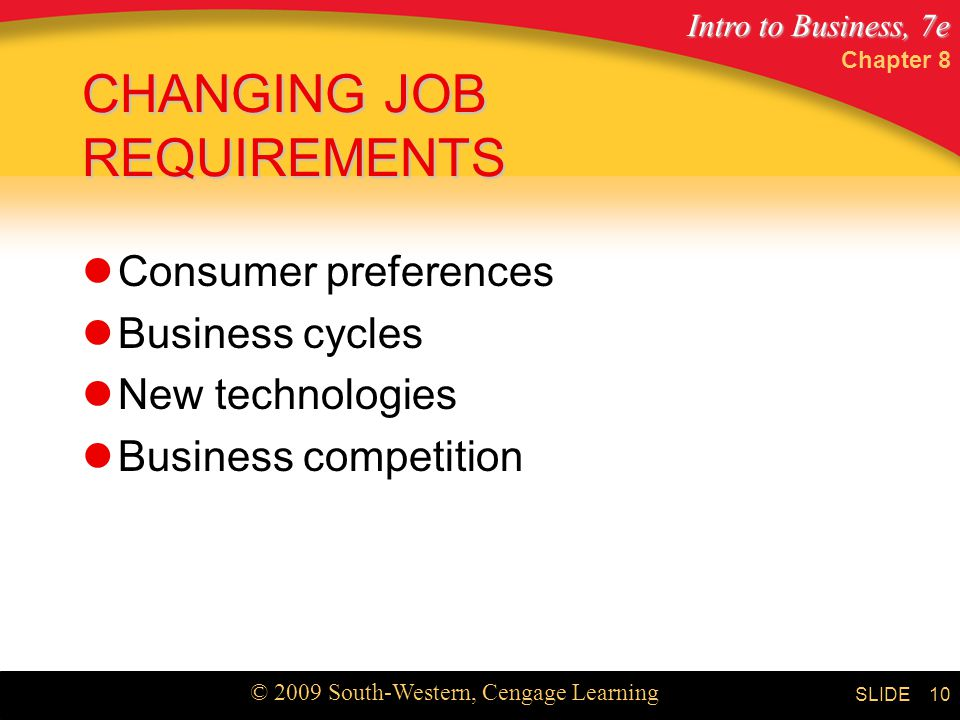CHANGING JOB REQUIREMENTS