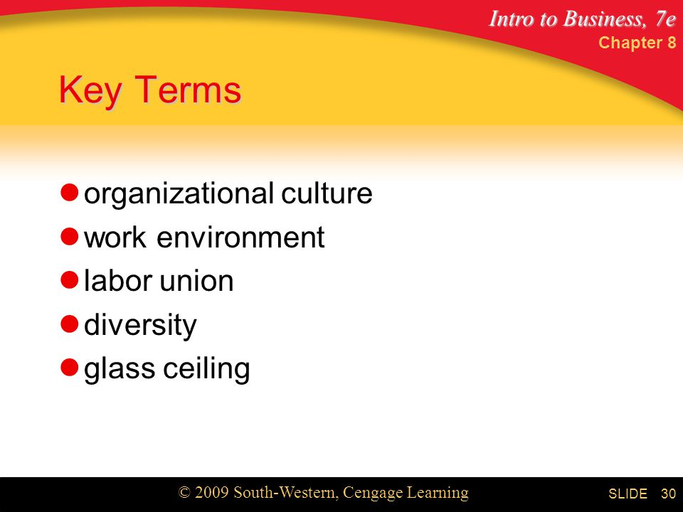Key Terms organizational culture work environment labor union