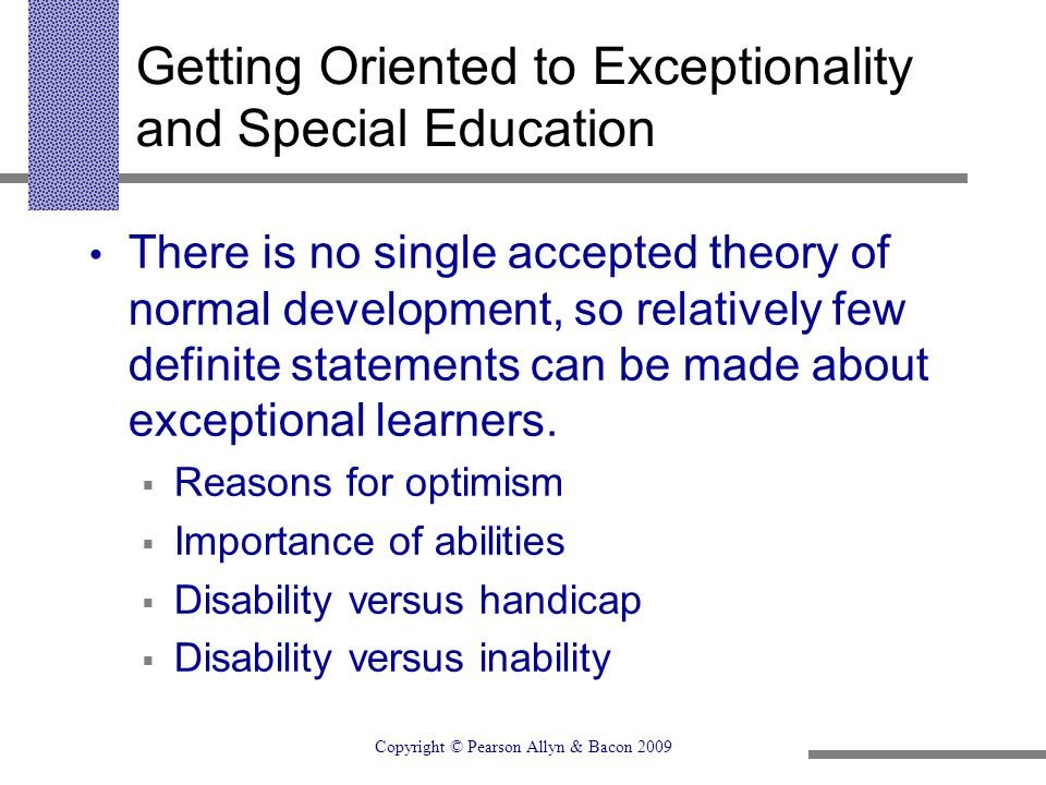 Getting Oriented to Exceptionality and Special Education