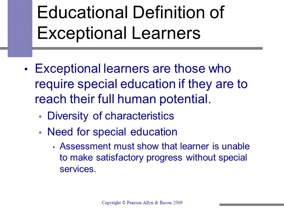 Educational Definition of Exceptional Learners
