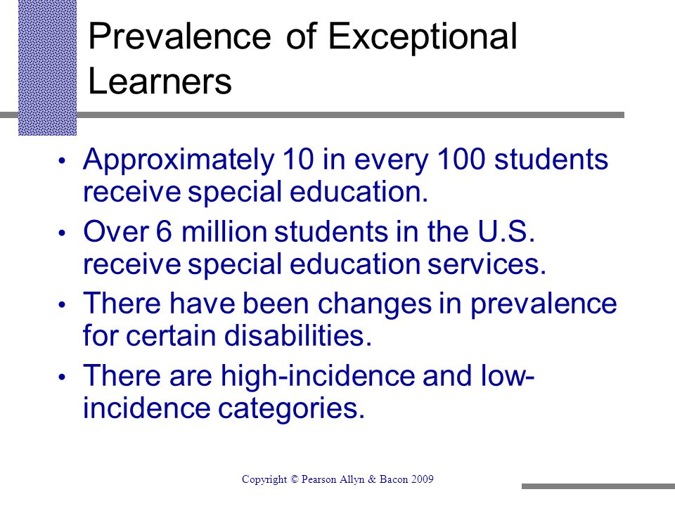 Prevalence of Exceptional Learners