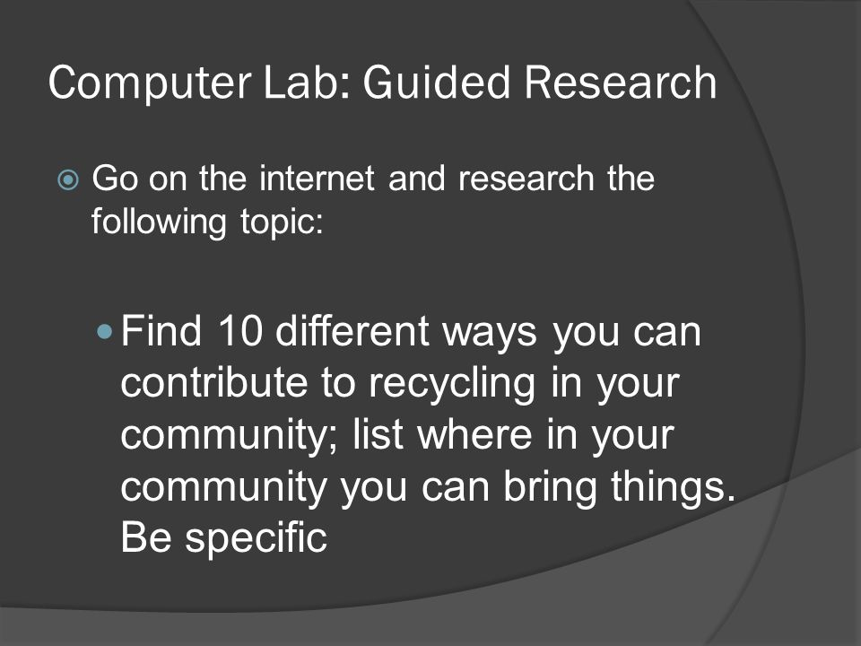 Computer Lab: Guided Research